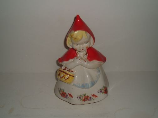 "Little Red Riding Hood Closed Basket Cookie Jar by Hull. Marked: ""LRRH PatDes 135889"". Manufacture date is unknown. The jar is from a private collection and is in excellent condition."