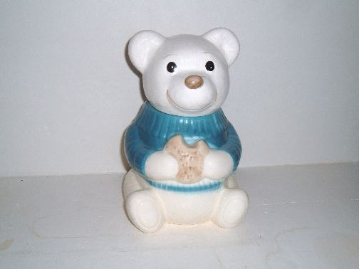 TEDDY BEAR w/Sweater and Cookie.