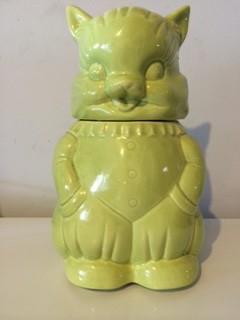 Green Cat Cookie Jar