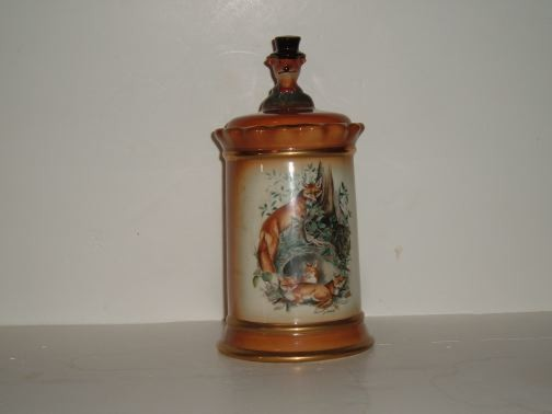 REGAL CHINA - Jim Beam w/Fox finial cookie jar