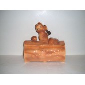 BRUSH - Squirrel on a Log cookie jar