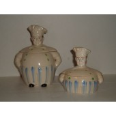JAPAN - Cream of Wheat White Cookie Jar and matching Grease Jar