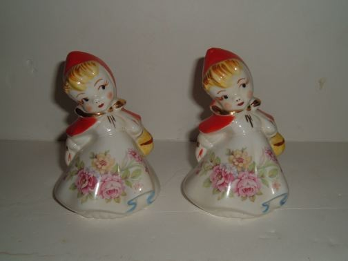 HULL - Little Red Riding Hood Salt and Pepper Shakers (RARE w/Roses Decal)