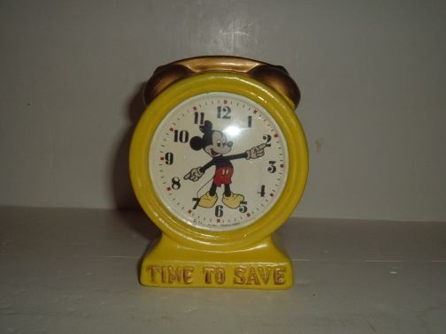 """Mickey Mouse Clock Bank """"Time To Save"""""""