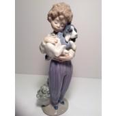 Lladro Figurine, number 7609 My Buddy, Boy with puppy
